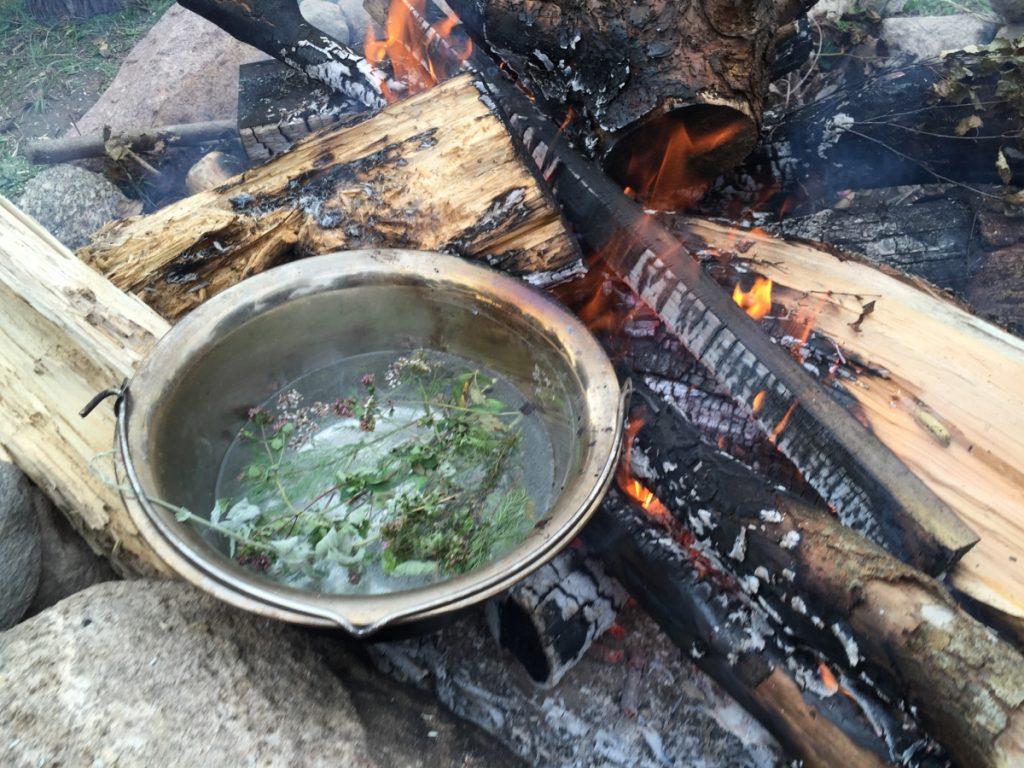 Čiobrelių arbata ant laužo Kalnuotėje